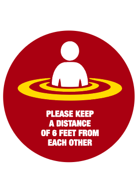 "17"" Circle Social Distancing Floor Stickers"