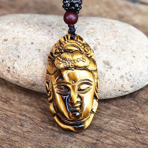 Colar Buda Kuan Yin de Olho de Tigre