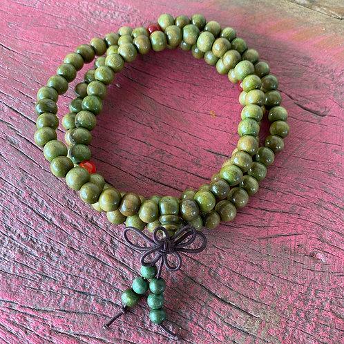 Japamala 108 contas de madeira verde Yoga