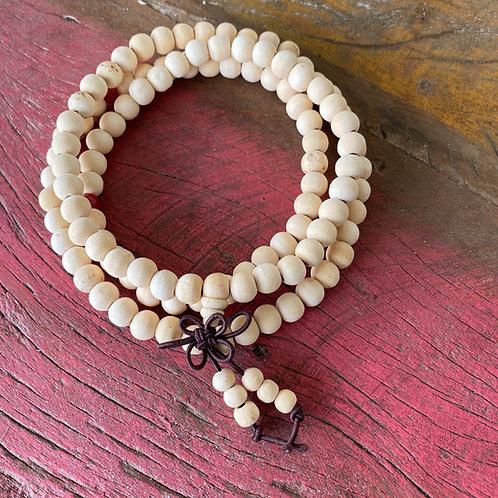 Japamala 108 contas de madeira marfim Yoga
