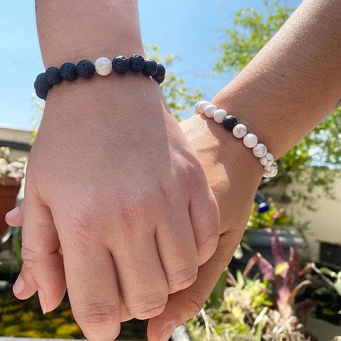 Kit com duas pulseiras Yin Yang Aromaterapia