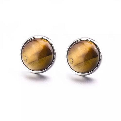 Brinco Olho de Tigre 10 mm em aço inoxidável