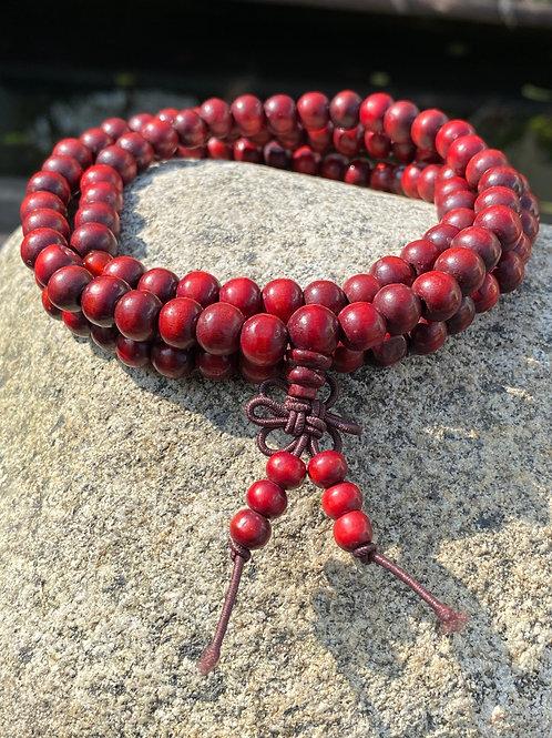 Japamala 108 contas de madeira vermelha Yoga