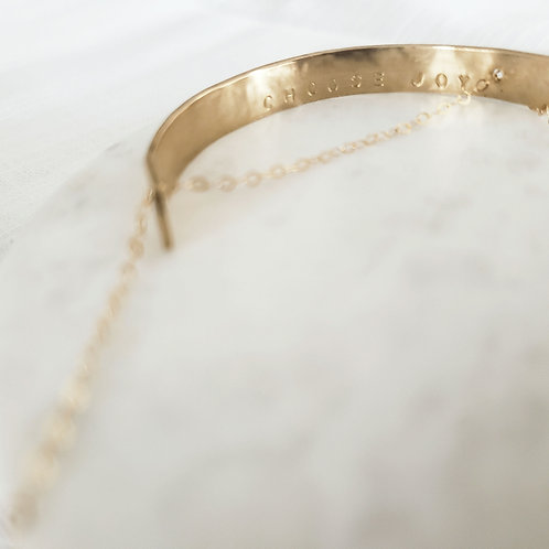 Personalize | Semi -Circle | Brass Hammered Chain