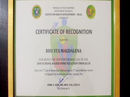 Rekognisyon para sa RHU Sta. Magdalena