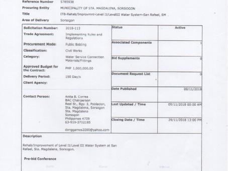 ITB-REHAB/IMPROVEMENT OF LEVEL II/LEVEL III WATER SYSTEM