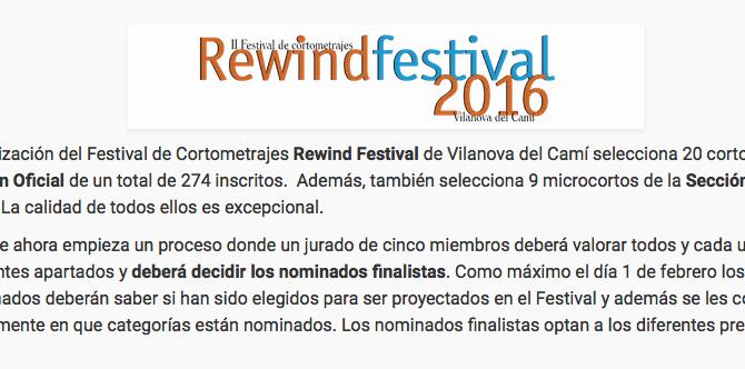 AL SOL en el Rewind Festival de Cortometrajes de Vilanova del Camí, que se celebra del 11 al 13 de m