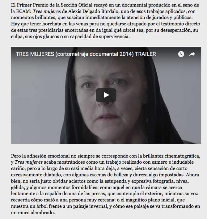 Tres Mujeres, Mejor corto en el Festival de Cine de Madrid-PNR