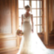 Glowing Bride in window at Armour House in Lake Forest