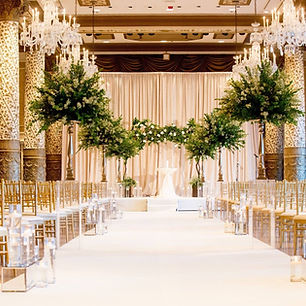 Trees lining the aisle to aceremony at The Drak Hotel Gold Coas Room.  Weddig planned by Megan Estrada North Shore Weddins & Events a Wedding Planner Chicago