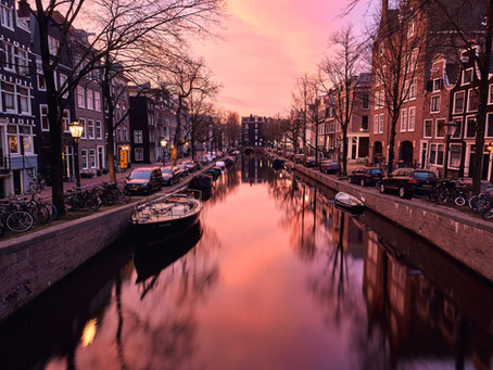 Warm air sunrise in Amsterdam