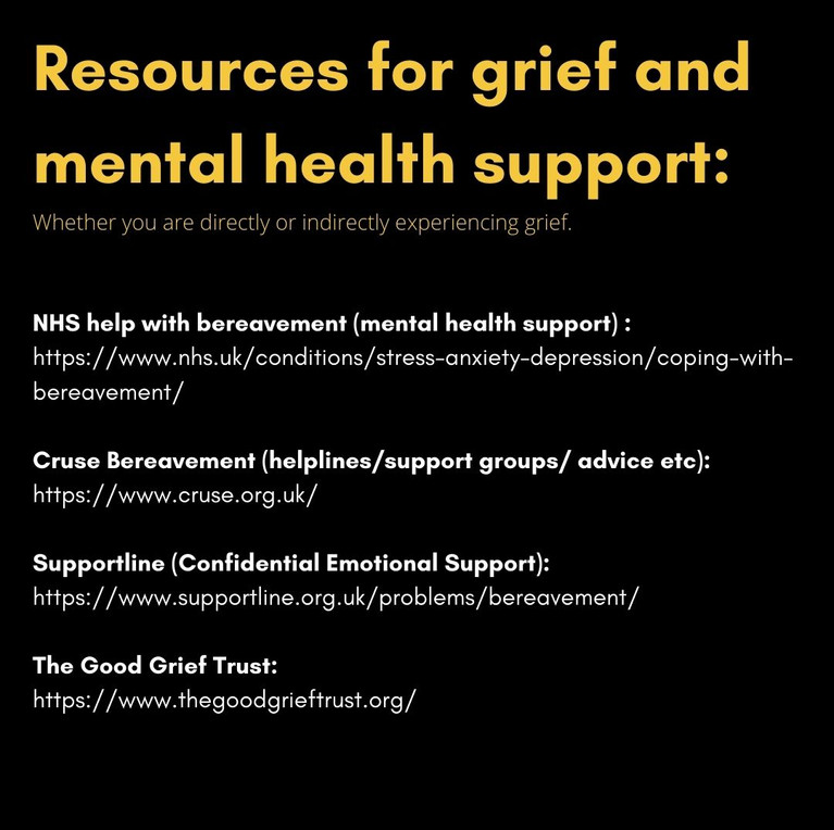 Resources for grief and mental health support