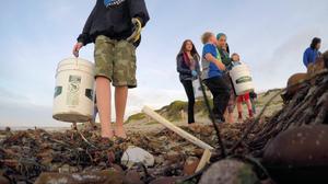 Straw trash, Monterey, CA
