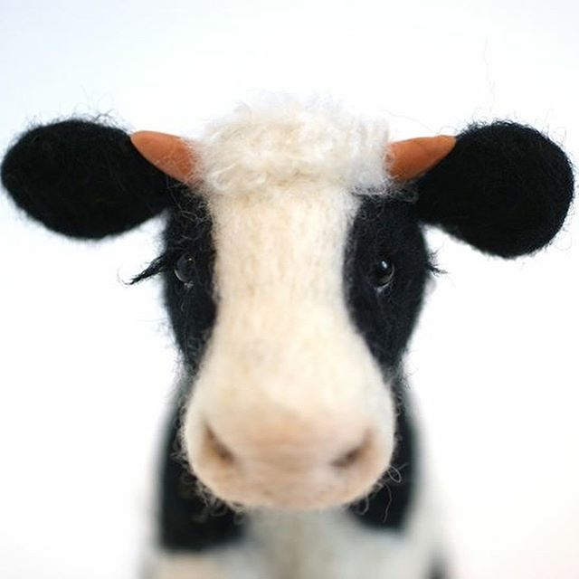 Needle Felted Black and White cow