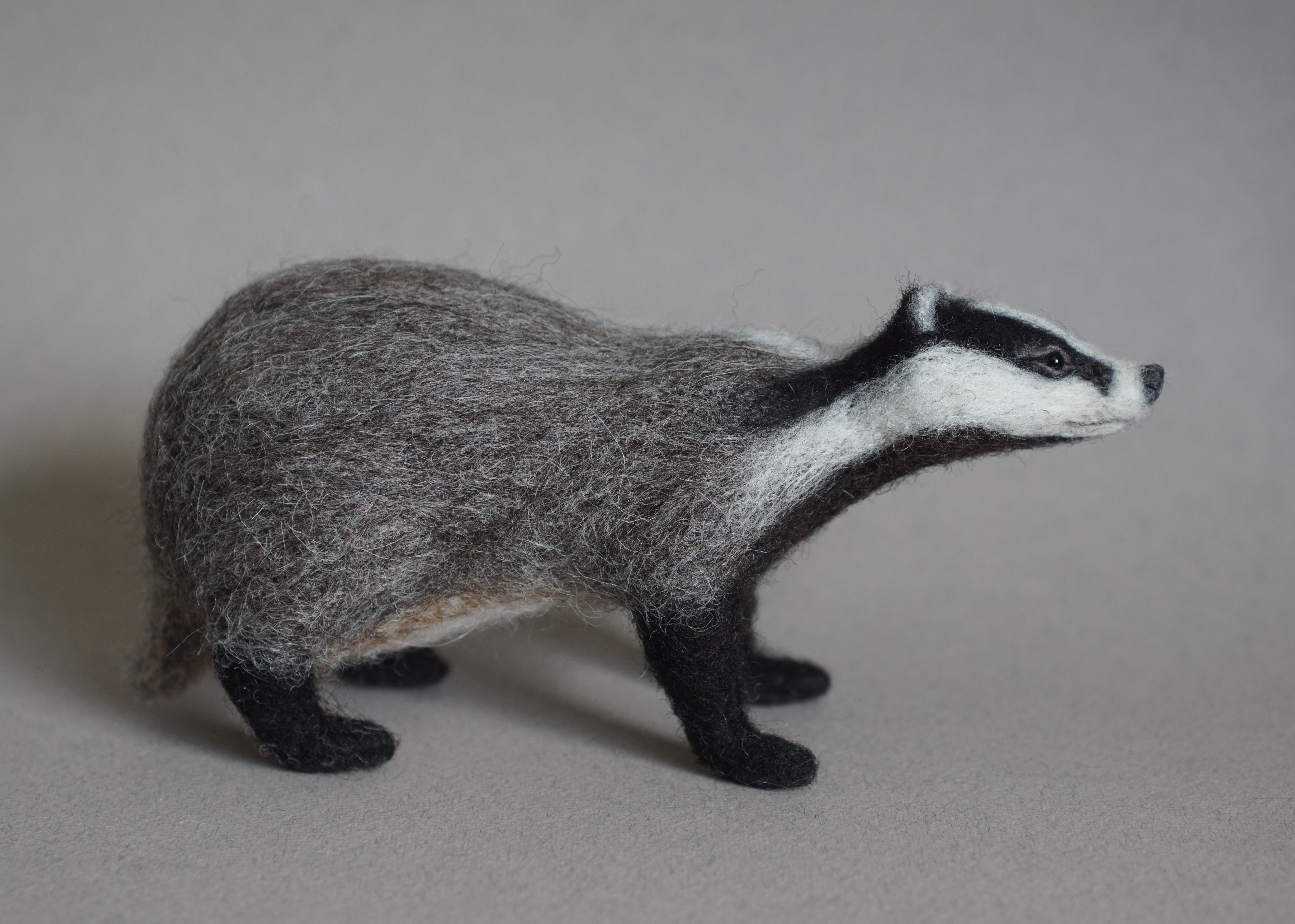 Needle Felted Badger - Jo Gardiner Art