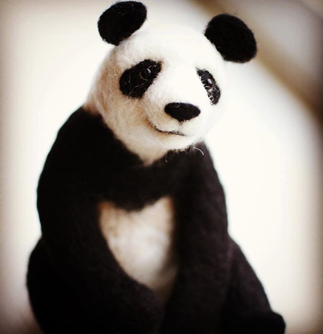 Needle Felted Panda Jo Gardiner Art