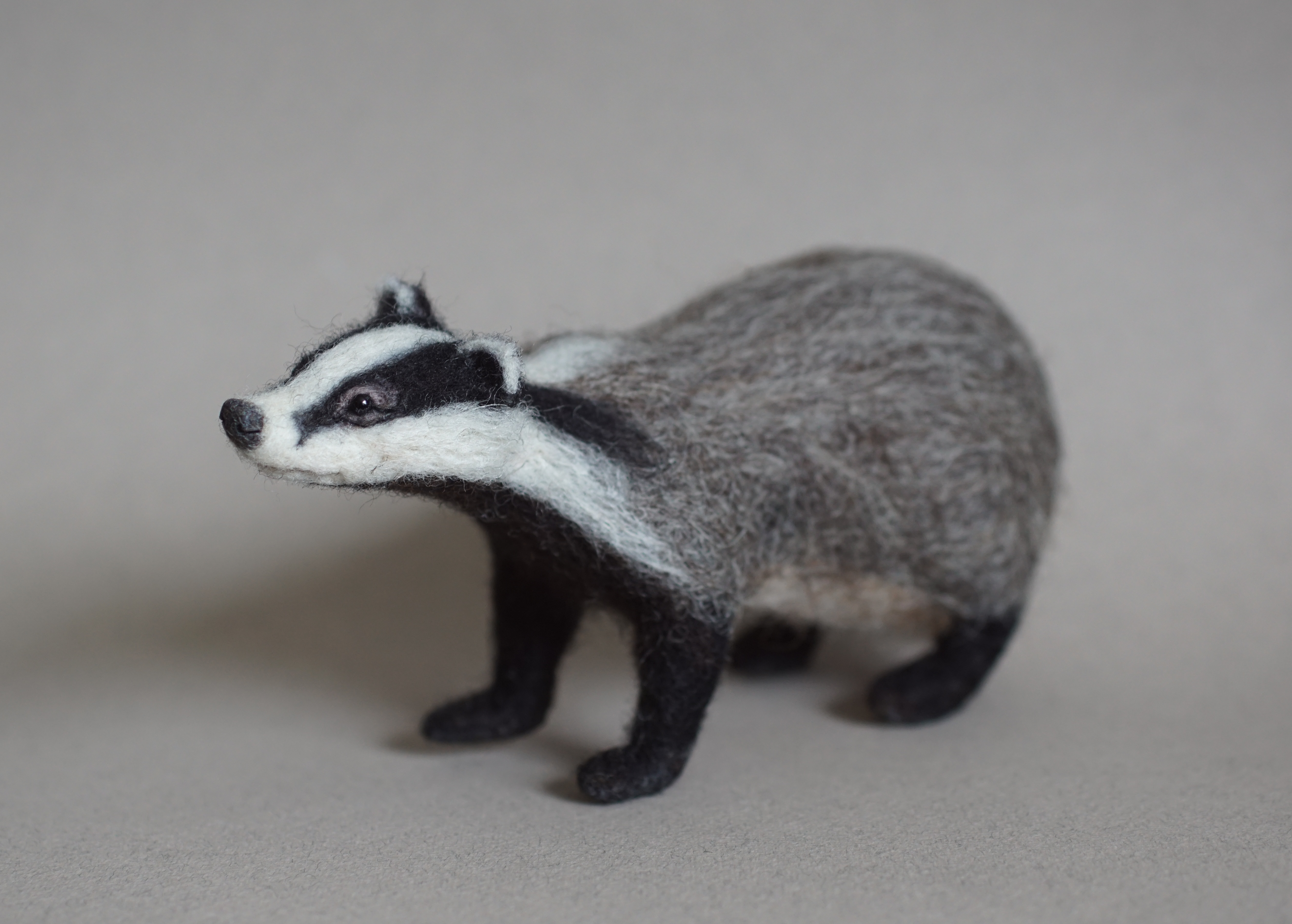 Needle Felted Badger - Jo Gardiner Art 7