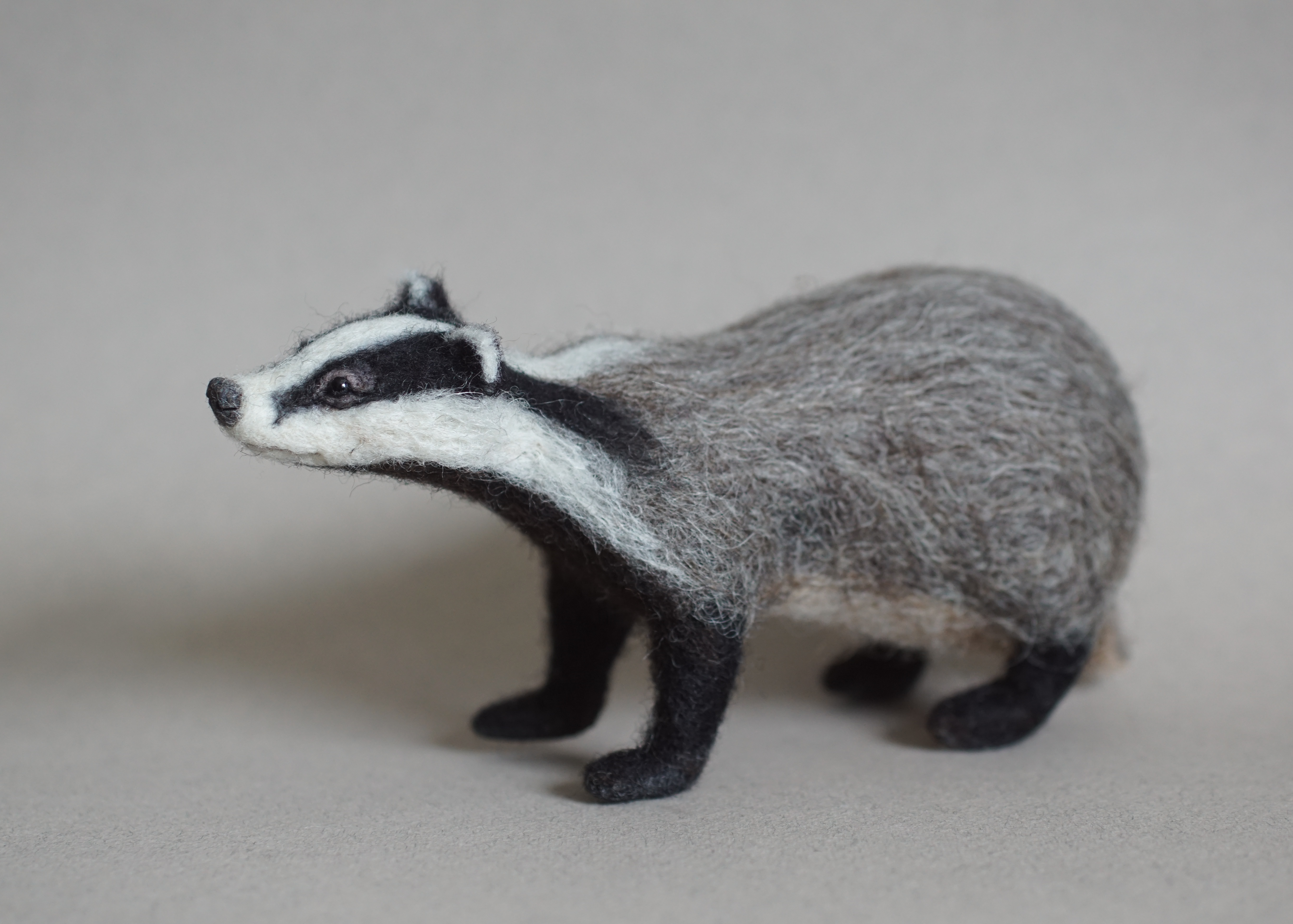 Needle Felted Badger - Jo Gardiner Art 4
