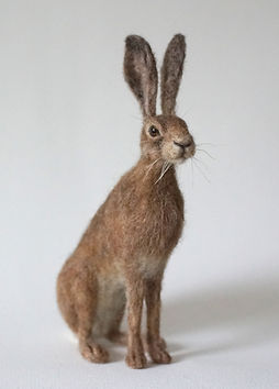needle felted Hare Jo Gardiner Art - www