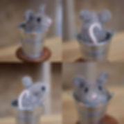 Needle felted mouse in a bucket - Jo Gar