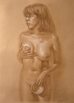 Desnudo con cuencos