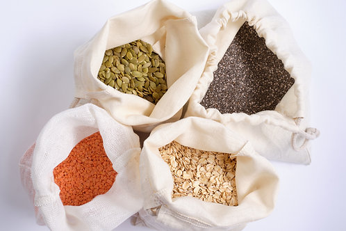 Hemp Linen Produce Bags: Set of 3