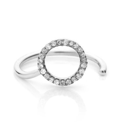 WHITE ETERNITY MIDI RING