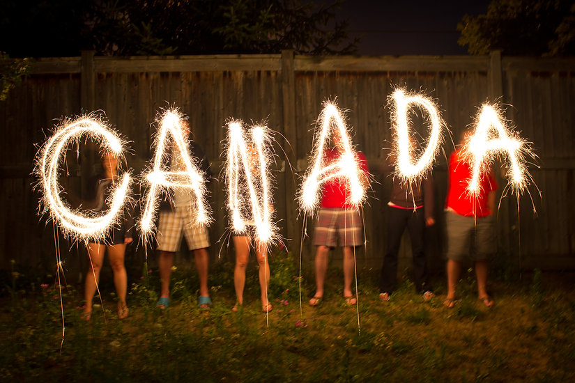Canada in sparklers