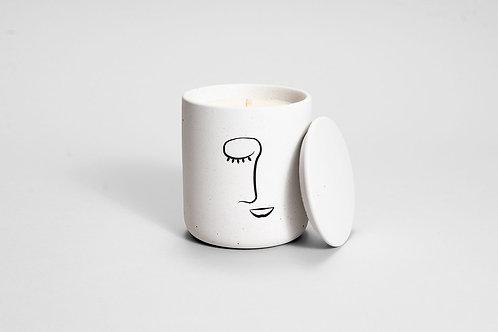 concrete face candle
