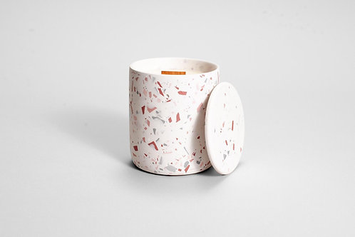 pink terrazzo soy wax candle