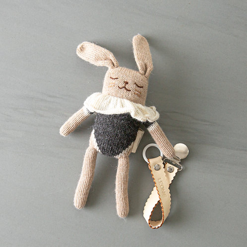 knitted toy + pacifier chain combo