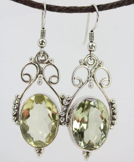 Open Work Prasiolite Queenly Earrings