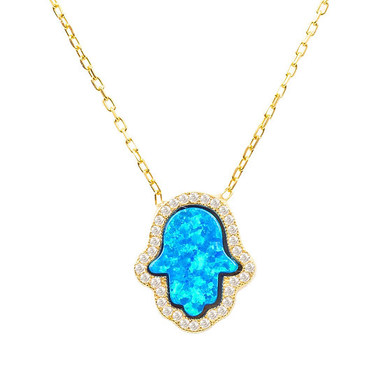 Hamsa Opalite Turquoise Blue Necklace Gold