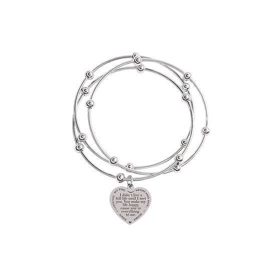 3 Piece Stackable Inspirational Heart Bangles By Pink Box