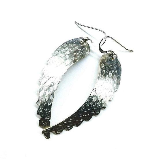 Sterling Silver Hammer Pattern Sculpted Angel Wing Earrings