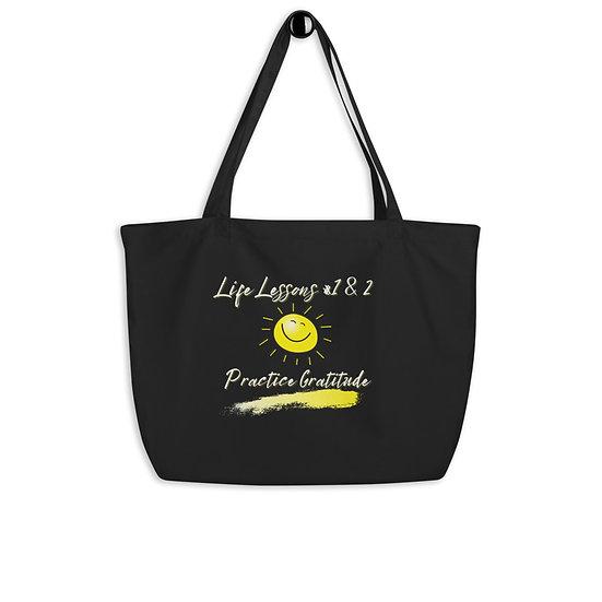 Practice Gratitude Organic Large Black Tote Bag