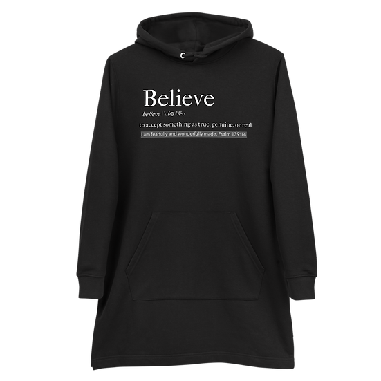 Believe Hoodie Dress, Eco-Friendly