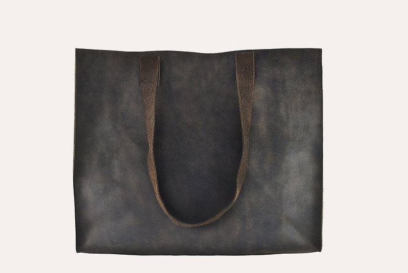 Raw Edge Cowhide Leather Tote