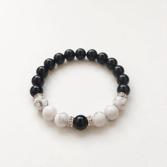 Releasing of Negative Energy  Black Onyx & White Howlite Bracelet