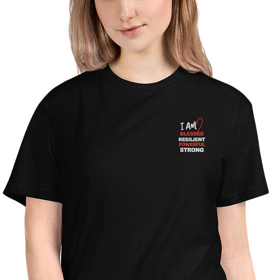 I AM BLESSED Sustainable T-Shirt with Embroidered Lettering