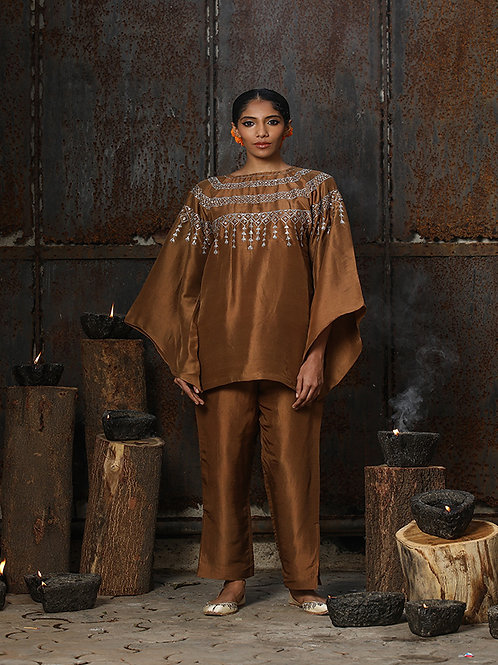 Brown Oversized Top and Pant Set