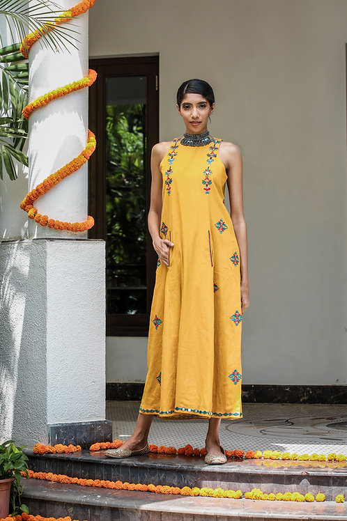 Mustard Long Dress with Front Pockets