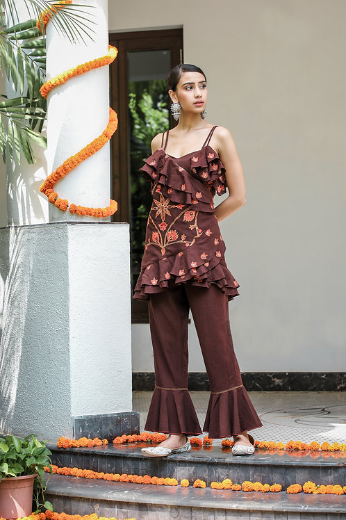 Chocolate Brown Wrap With Top and PantSet