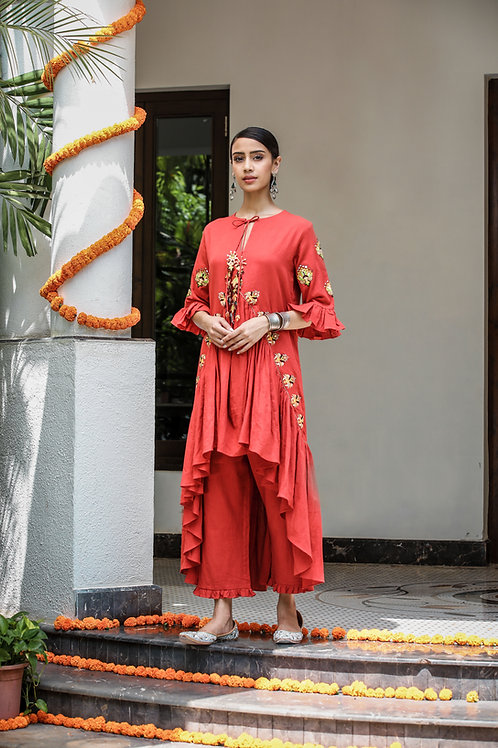 Rust Assymetrical Kurta and Pant Set