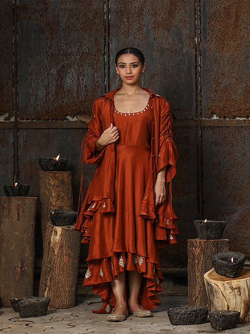 Rust Dress And Jacket Set