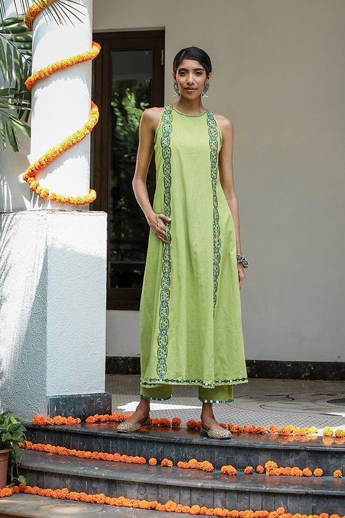 Light Green Long Kurta with Front Pockets and Pant Set