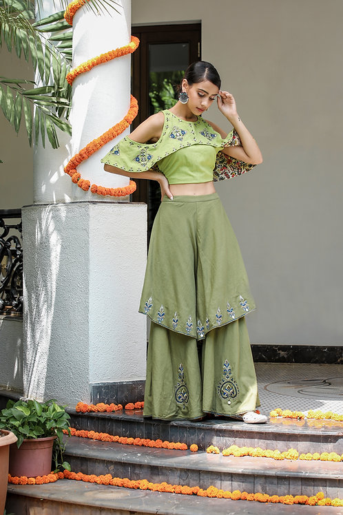 Green Crop Top and 2 Layer Pant Set