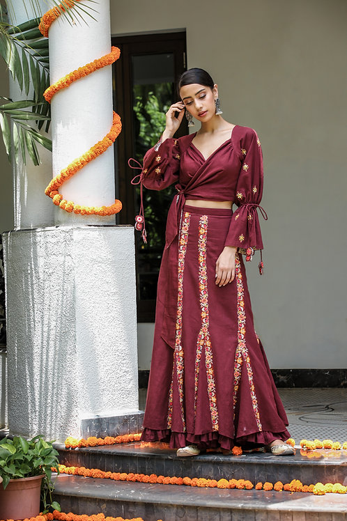 Maroon Wrap Top and Skirt Set