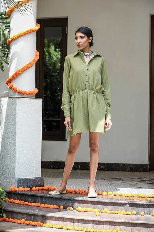 Dark Green Shirt Dress with Fringes At The Back