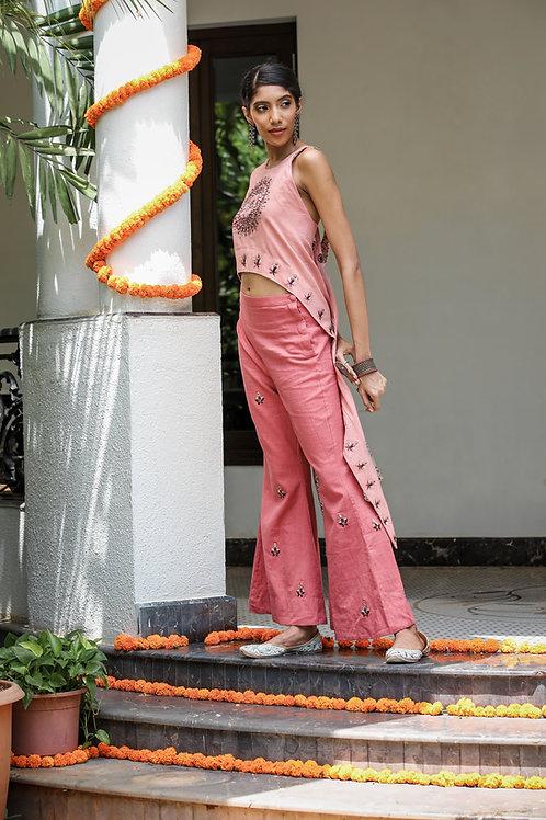 Pink Assymetrical Top and Pant Set
